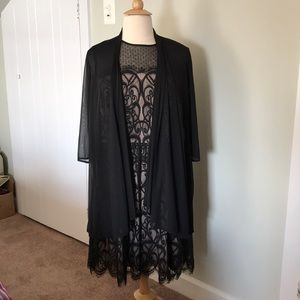 London Times Woman lace dress and sheer jacket